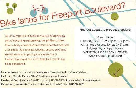 Bike Lanes for Freeport Blvd Open House flyer